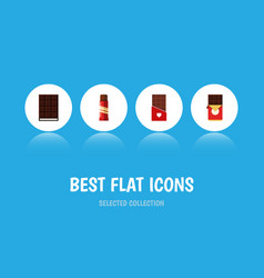 Flat icon bitter set of chocolate bar dessert vector