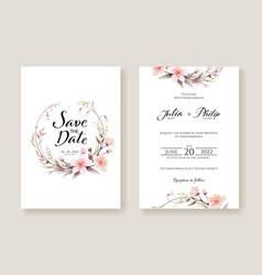 flowers wedding invitation card template vector image