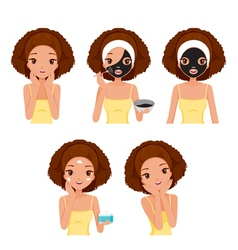 Girl Mask Face Tan vector image