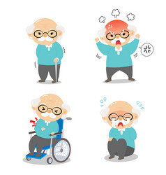 grandpa in various postures and expressing vector image