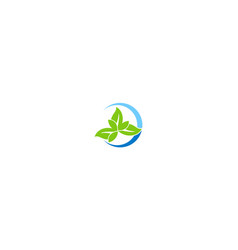 green leaf organic company logo vector image