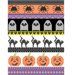 Halloween pattern with cat spider ghost heart vector