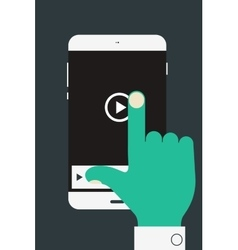 hand holding mobile device vector image vector image