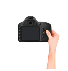 hands holding camera on white background vector image