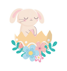 Happy easter day rabbit in eggshell flowers vector