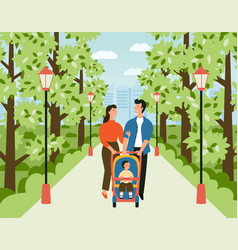 happy family with bastroller in park man vector image