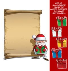 Happy Santa Scroll Holding a Gifts vector image