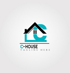 House icon template with c letter home creative vector