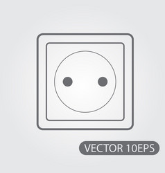 household electrical outlet icon black and white vector image