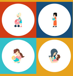 Icon flat parent set of mam perambulator parent vector