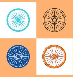 indian ashoka chakra icon set in flat and line vector image