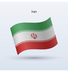 Iran flag waving form vector image