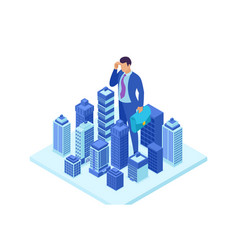 Isometric businessman looks down at city vector