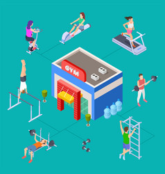 isometric sport club concept gym building vector image