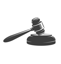 Judge gavel emblem drawn in engraving style vector