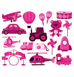 Large set different objects in pink color vector