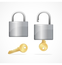 Locked and unlocked padlock gold vector