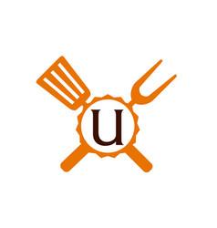 Logo restaurant letter u vector