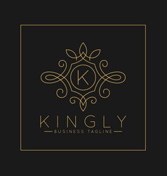 Luxurious letter k logo with classic line art vector