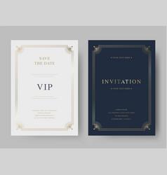 luxury vintage golden invitation card template vector image