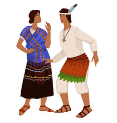 Man and woman people in clothes maya empire vector