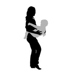 Mother holding bain hands silhouette little boy vector