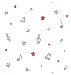 music background with notes and stars colored vector image