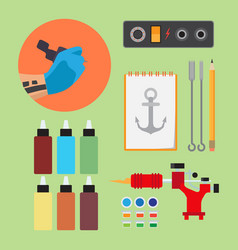 paints and tools for tattooing vector image