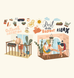 People relaxing and spend time on balconies vector
