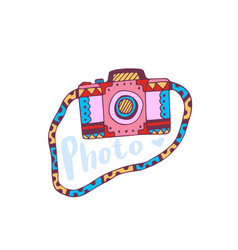Photo camera icon travel printed art vector