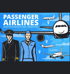 pilot flight attendant and airline airplanes vector image