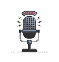 Podcast microphone in flat style isolated on vector