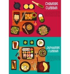 Popular dishes of japanese and chinese cuisine vector