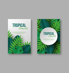 posters with exotic jungle tropical palm leaves vector image
