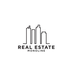 real estate skyscraper mono line logo design vector image