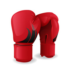 realistic red boxing gloves icon isolated sport vector image