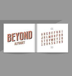 retro font and alphabet set lettering design vector image