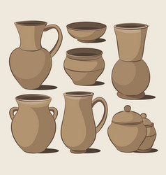 rustic ceramic utensils vector image