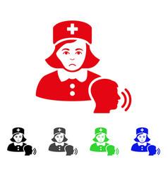 Sad psychotherapist nurse talking icon vector