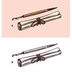 Scroll paper and a pen for writing dripping ink vector