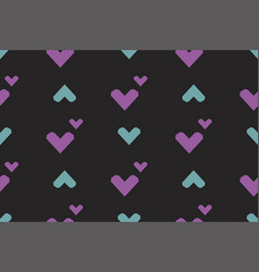seamless pattern with hearts on a black background vector image