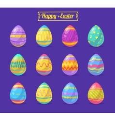 set easter eggs cute cartoons vector image
