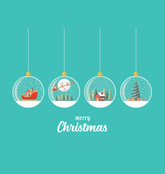 set merry christmas glass balls hanging vector image