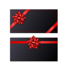 set of black holiday gift card with red ribbon and vector image
