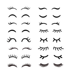 Set of cute cartoon eyelashes open and closed vector