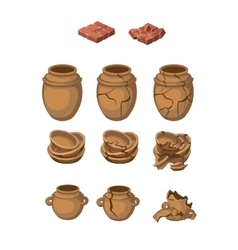 Set of earthenware jugs and plates whole broken vector
