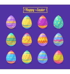 Set of Easter eggs cute cartoons vector image