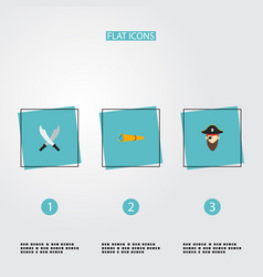 Set of pirate icons flat style symbols with pirate vector