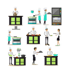 set of professional cooking people icons vector image