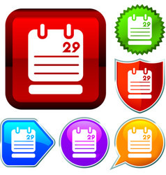 Set shiny icon series on buttons day agenda vector